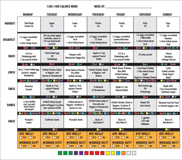 21 Day Fix 1200-1499 Calorie Menu — Week 2 – 21 Day Fix Plan - Menus & Tips  for the 21 Day Fix