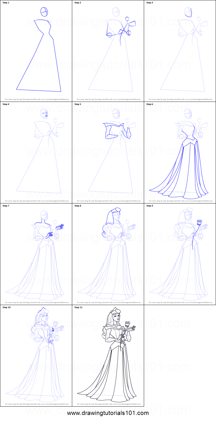 How To Draw Princess Aurora From Sleeping Beauty Princess Drawings Disney Art Drawings Beauty Art Drawings