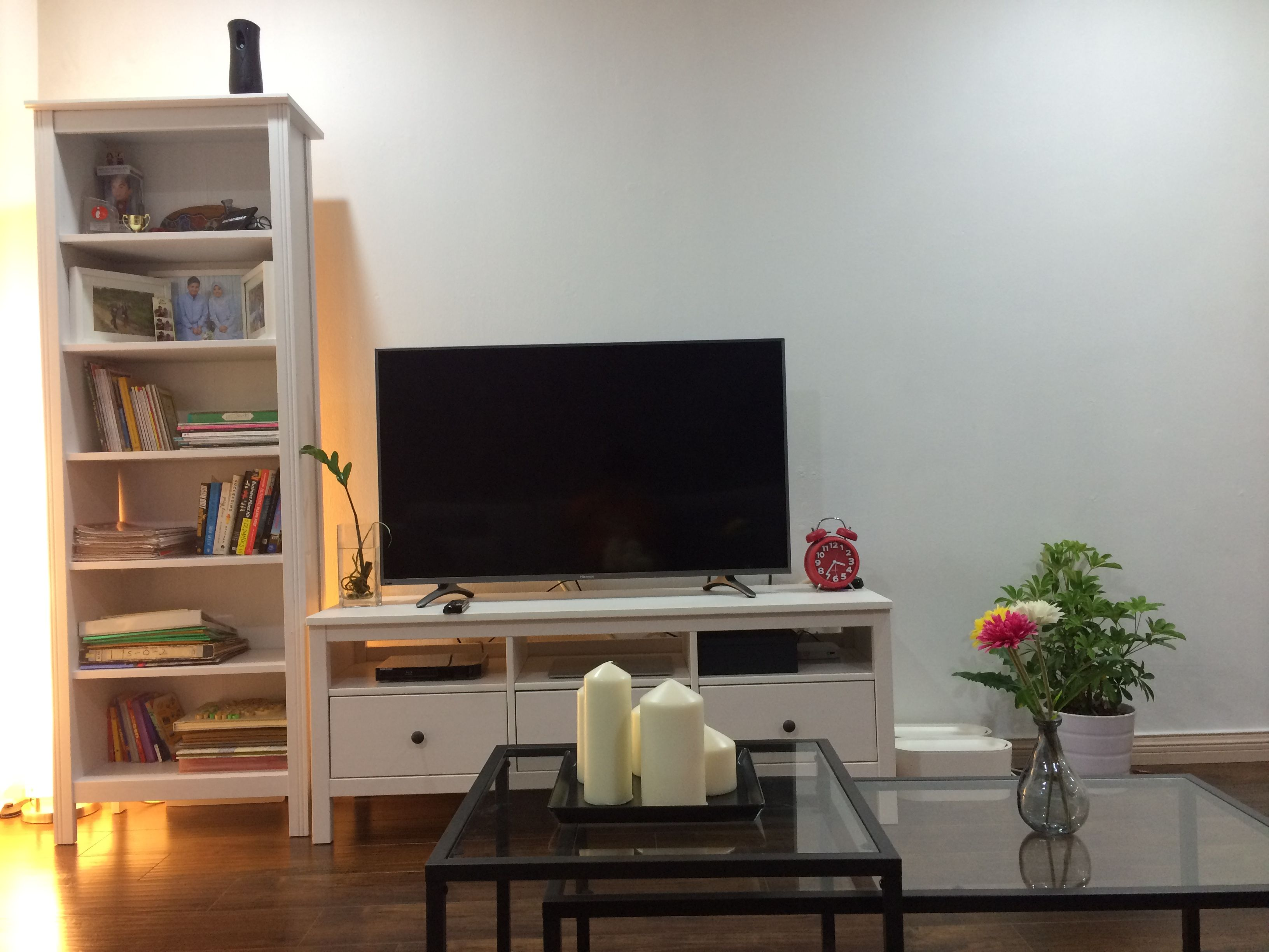 Living room with Ikea hemnes tv bench brusali bookcase vittsjo