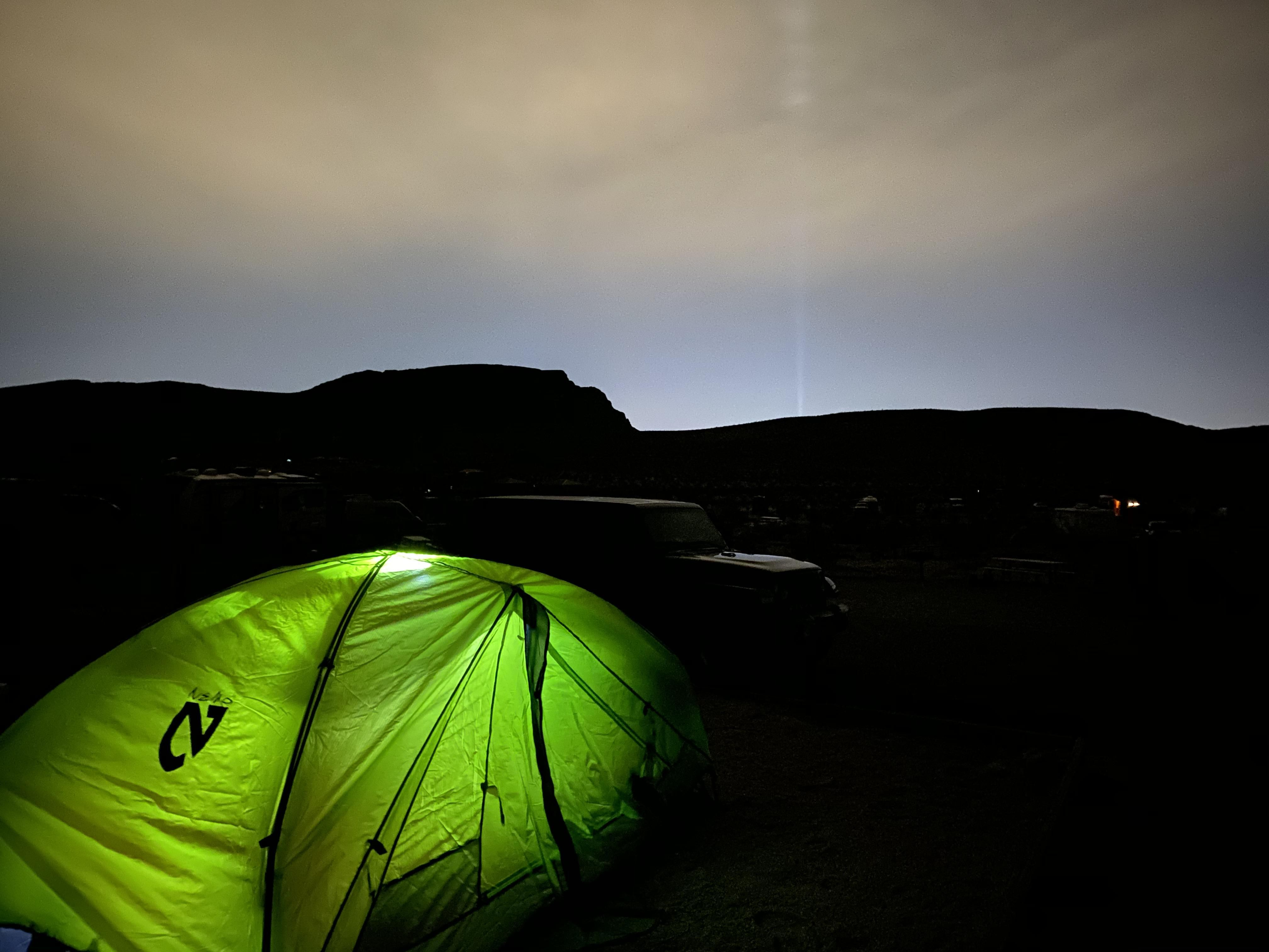 Red Rock Canyon Campground With Las Vegas Luxor Sky Beam In The Background This Past Weekend Camping Hi Best Camping Gear Hiking In Virginia Camping Near Me