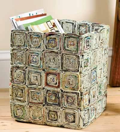 Des id es pour recycler du papier journal panier en - Bricolage en papier journal ...