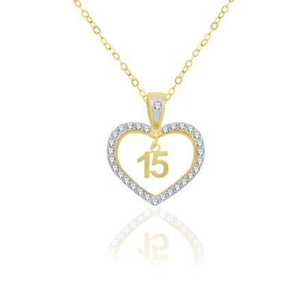 Online 10 Karat Yellow Gold Crystal Heart Quinceanera Pendant Walmart Com Crystal Heart Gold Jewelry