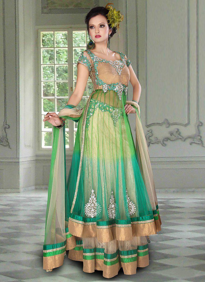 Stunning green net long choli lehenga fashion pinterest woman