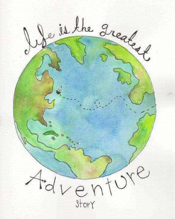 Watercolor Globe Watercolor Earth Nursery Wall Art Boy Nursery