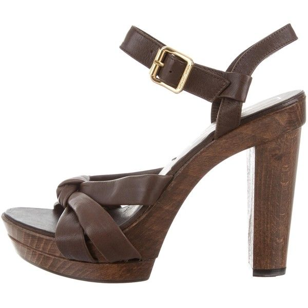 e3c0cd04ec6c Pre-owned Michael Kors Leather Crossover Sandals (4.530 RUB) ❤ liked on  Polyvore featuring shoes