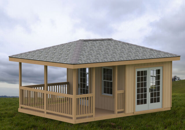 14 X 20 Partially Enclosed Gazebo Man Cave She Shed Hip Roof