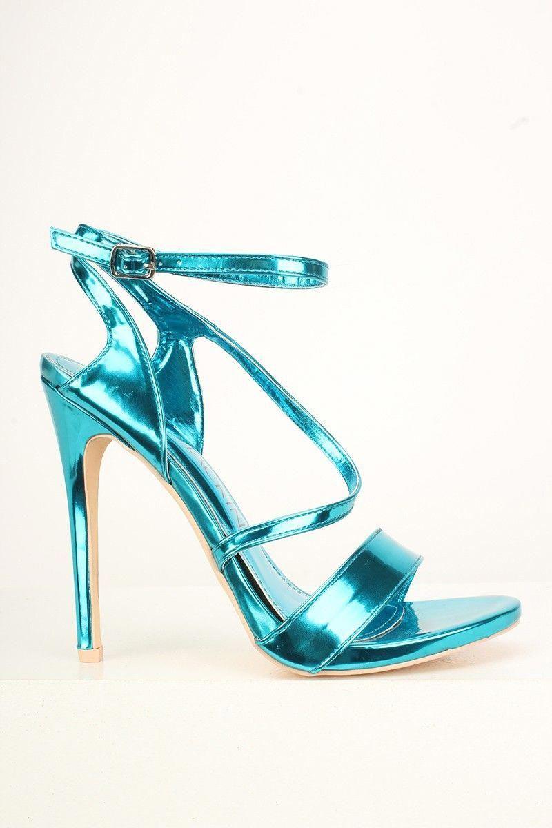 eb9538b7104 Patent Teal Strappy High Heels #Promshoes | Höga klackar i 2019