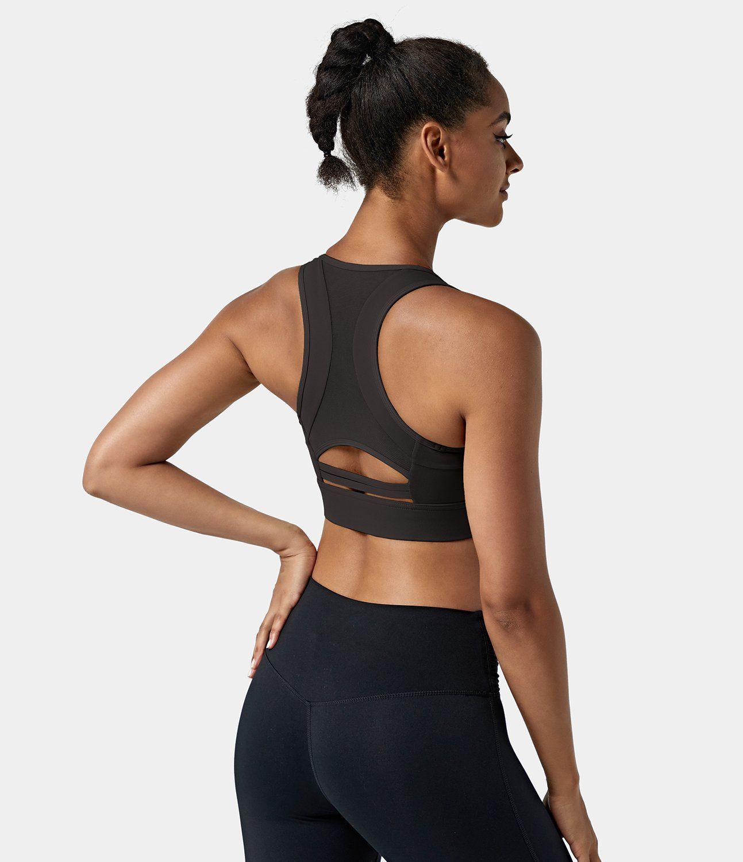 Women's Medium Support Racerback Contrast Mesh Cut-Out Sports Bra. Nylon-75%, Spandex-25%, Nylon, Spandex. Sweat-wicking, Breathable. Contrast
