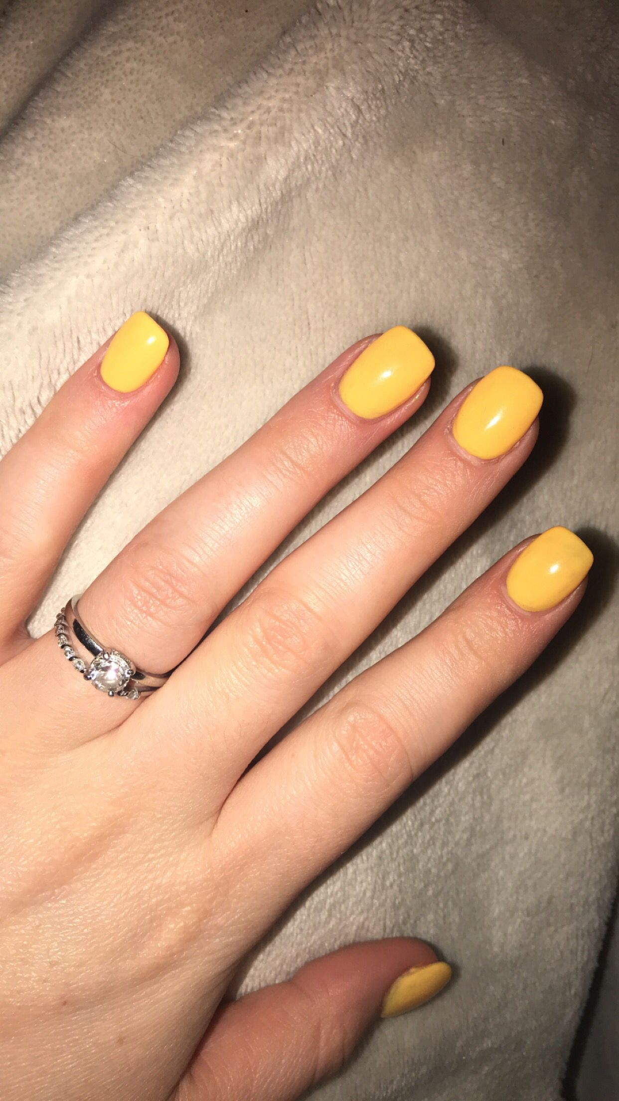 Yellow acrylic nails. Short. Square round. | Square ...
