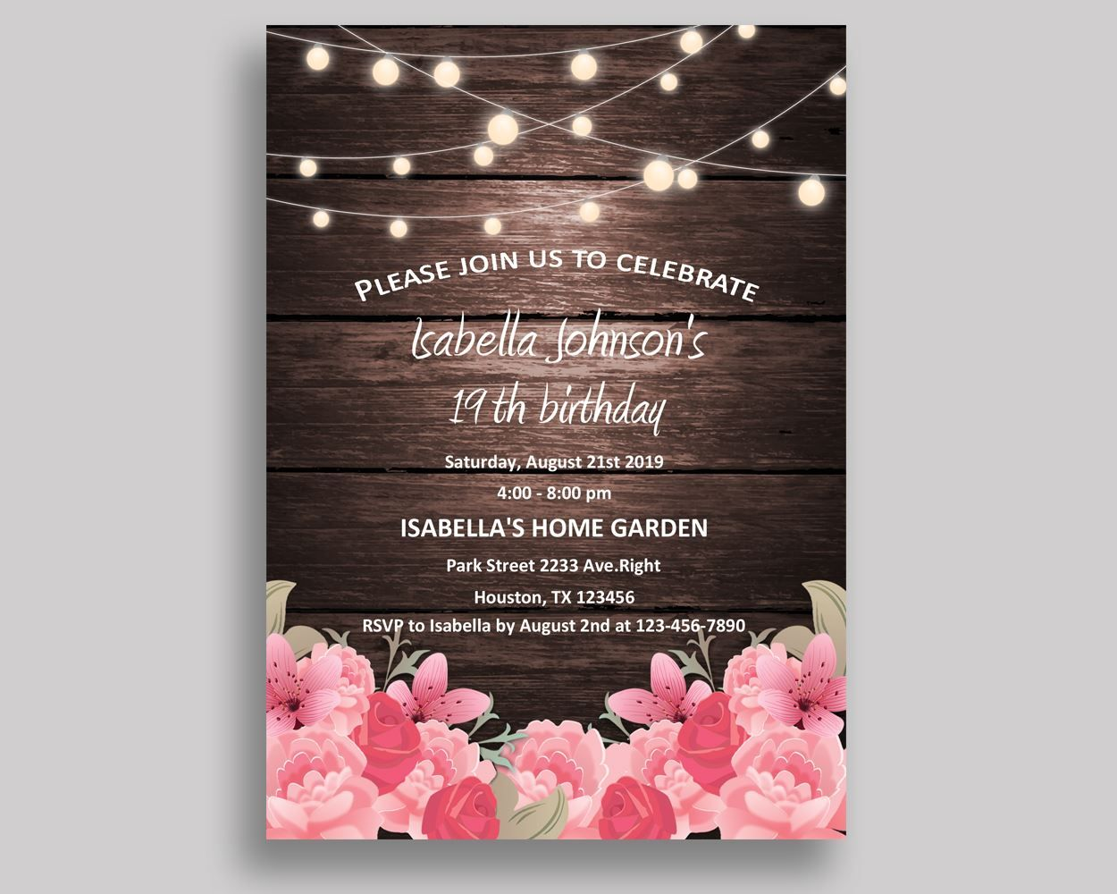 Rustic Birthday Invitation Rustic Birthday Party Invitation Rustic ...