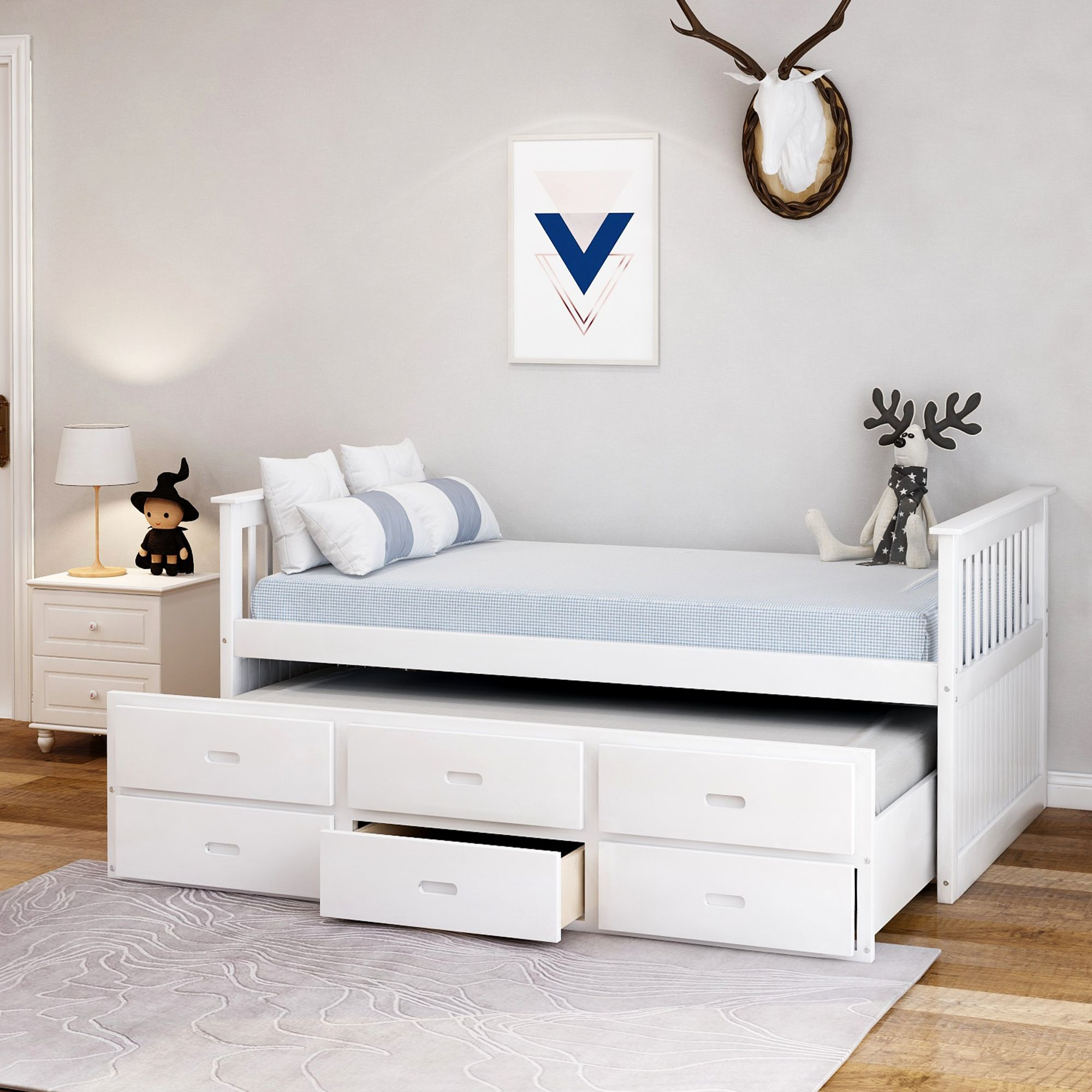Merax Solid Wood Captain Bed With Trundle And Drawers Twin Multiple Colors Walmart Com Trundle Bed Bed With Drawers Captains Bed Solid wood captain's bed twin
