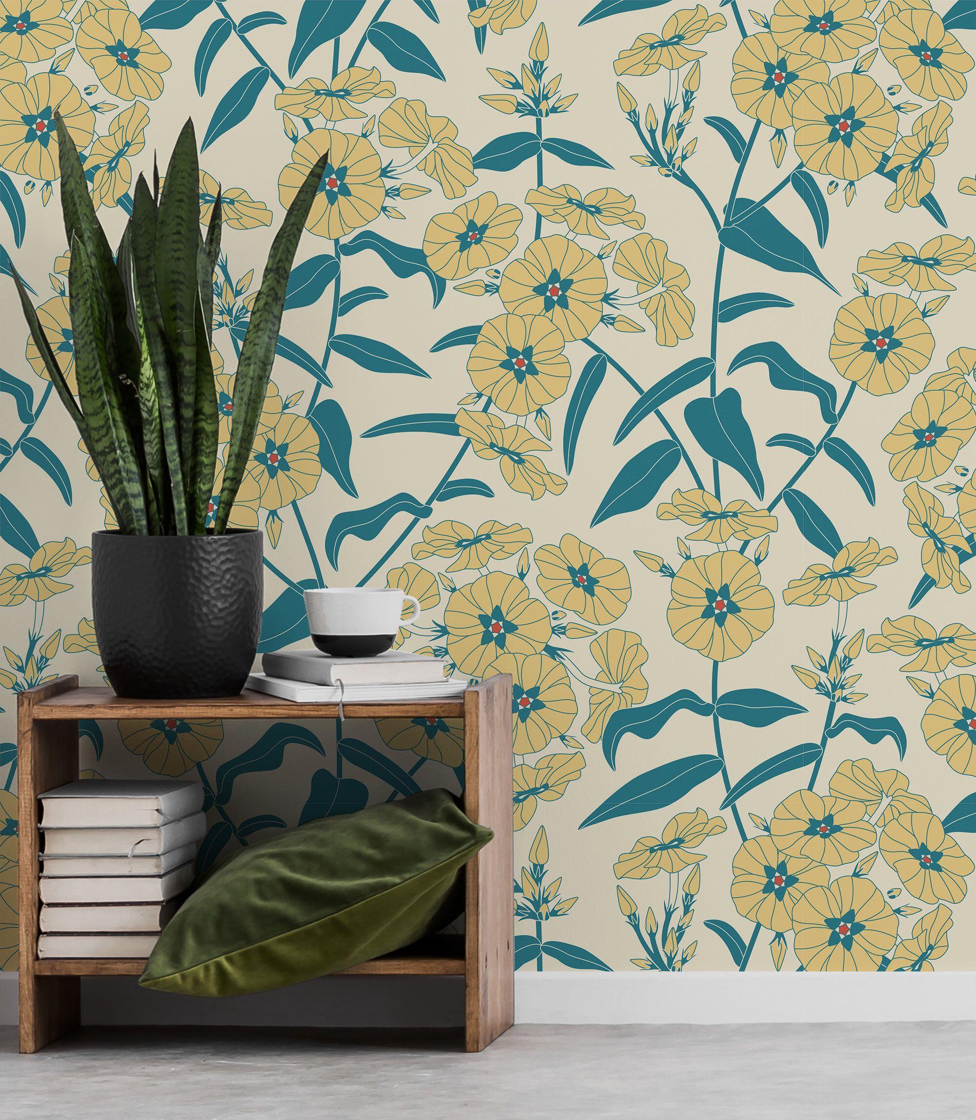 Yellow Flowers Vintage Wallpaper Self Adhesive Wall Mural Etsy Vintage Floral Wall Art Vintage Wallpaper Floral Wall Art