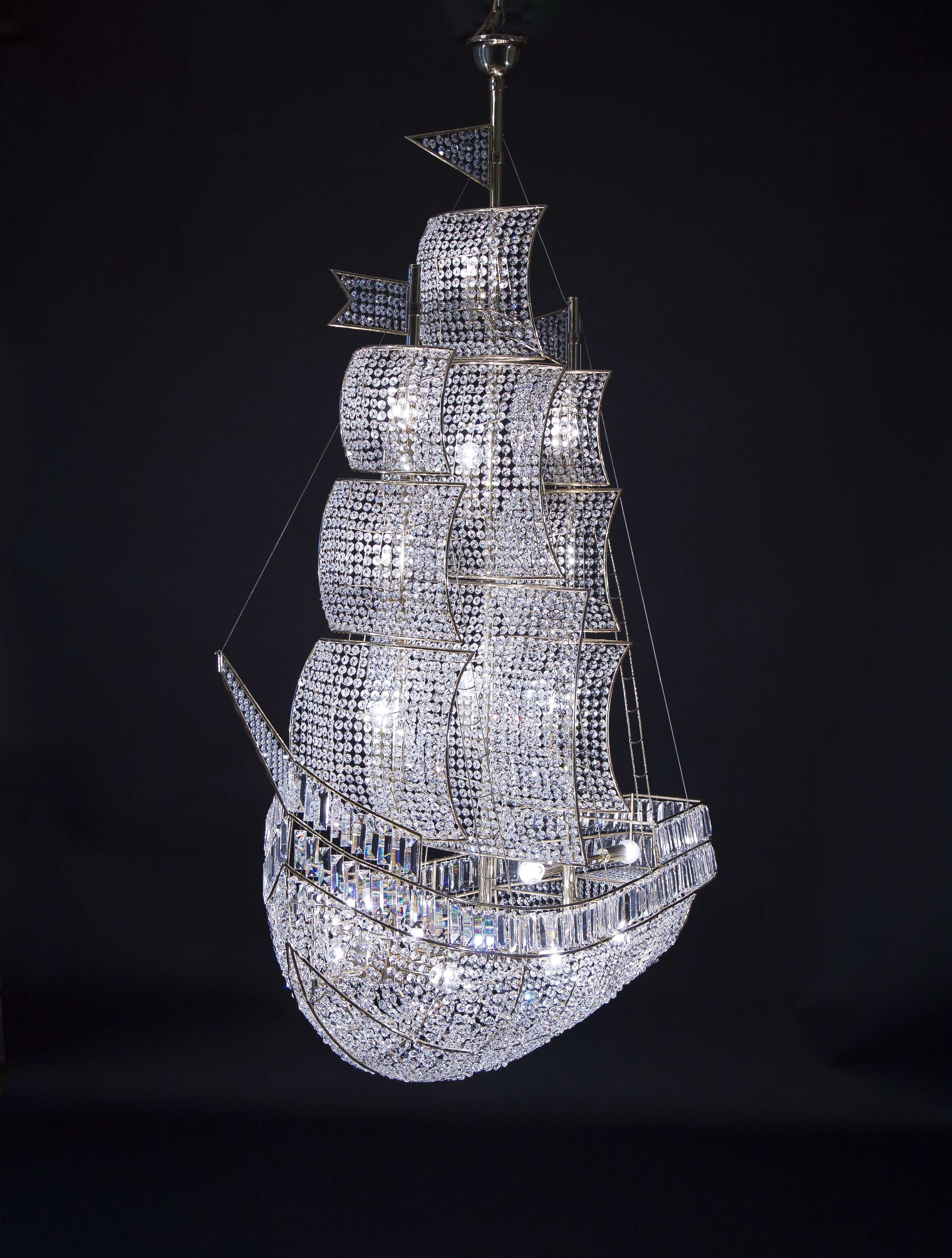 Glamorous chandelier in a form of the sea ship polished brass glamorous chandelier in a form of the sea ship polished brass clear crystals arubaitofo Choice Image