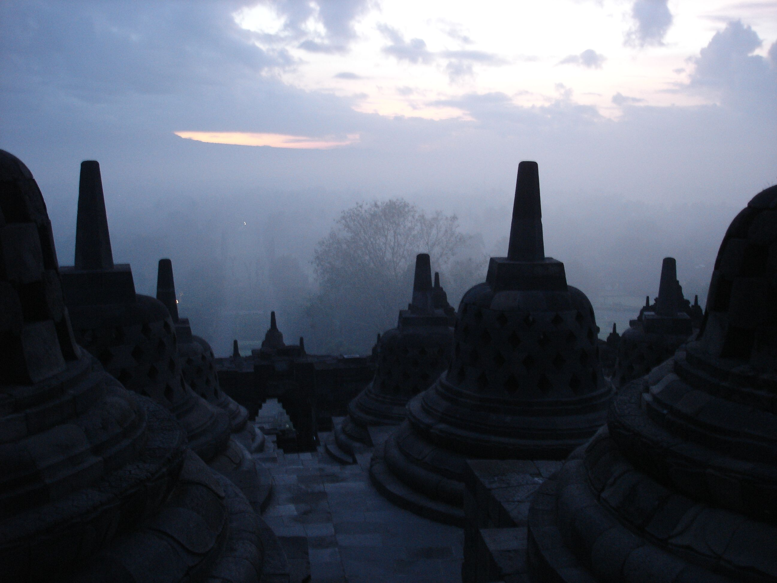 The first light of dawn over Borobodur