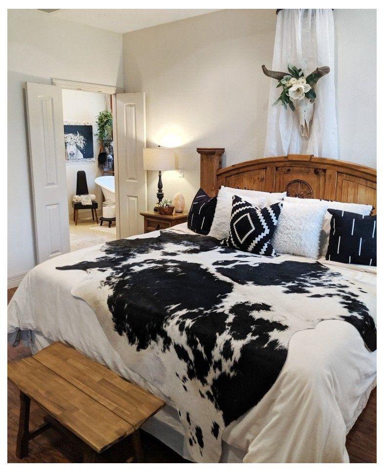 Western bedroom inspiration cowhide rug bedroom boho