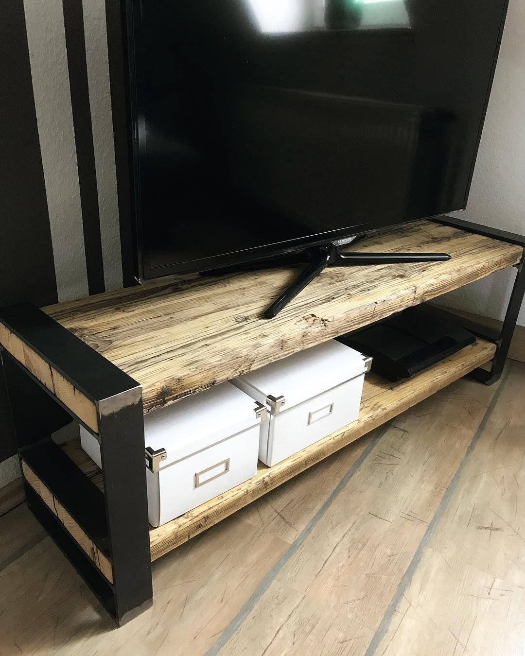 Tv Board Industrial Tv Board - Industrial Design/altholz Fichte #industrialdesign #industrial #altholz #upcycling #upcyclingfurniture #handmade #man… | Home Decor, Storage Bench, Home
