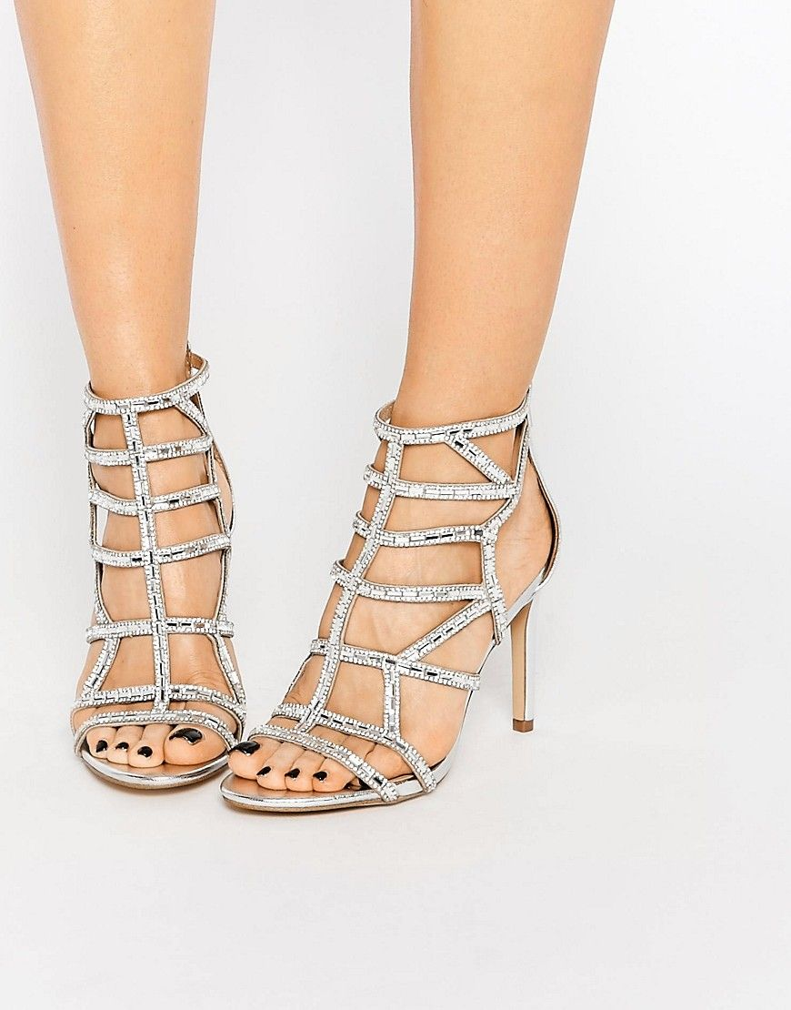 ALDO Norta Silver Heeled Cut Out Embellished Sandals at asos.com