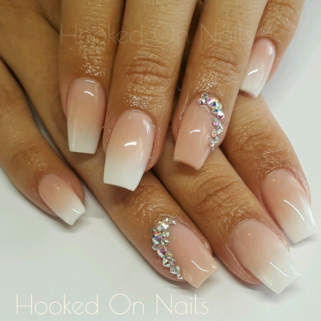 Ombre nude nails, modern french nails, swarovski crystals | Nude ...