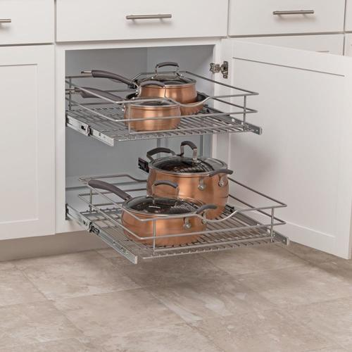 Simply Put 20 5 In W X 14 6875 In H 2 Tier Pull Out Metal Soft Close Cabinet Organizer Lowes Com In 2020 Cabinet Organization Cabinets Organization Kitchen Cabinet Organization
