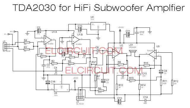 TDA2030 make for Subwoofer Amplifier Circuit | Electronics projects ...