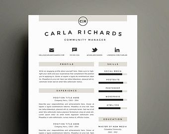 Amazing Professional Resume Template And Cover Letter Template For Word | DIY  Printable 4 Pack | Modern Regarding Creative Professional Resumes
