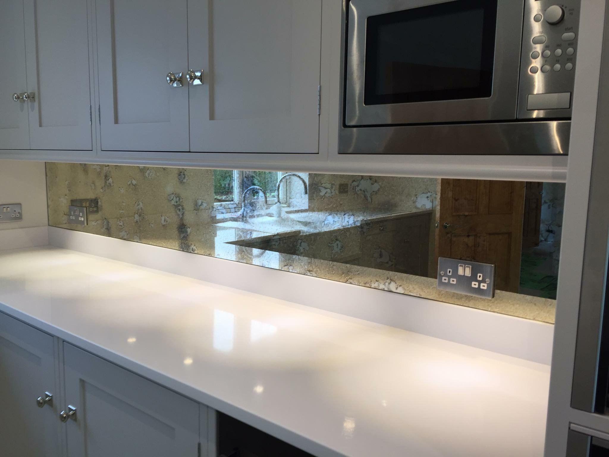 Silver Antique Effect Mirrored Glass Kitchen Splashback Kitchen