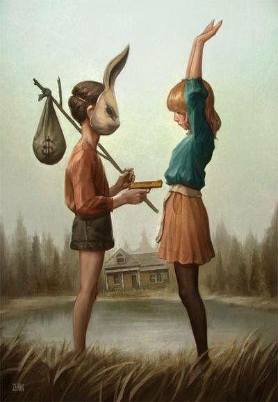 art, artistic, artsy, boy, brains, bunny, bunt, crime, dark, draw, drawing, forest, girl, gun, high, kid, kidnap, kids, love, money, paint, painting, rabbit, wander, woods, rabbim