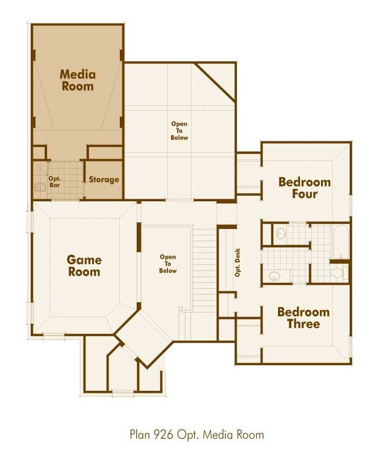 Highland homes 926 floor plan upstairs with media room for Upstairs plans