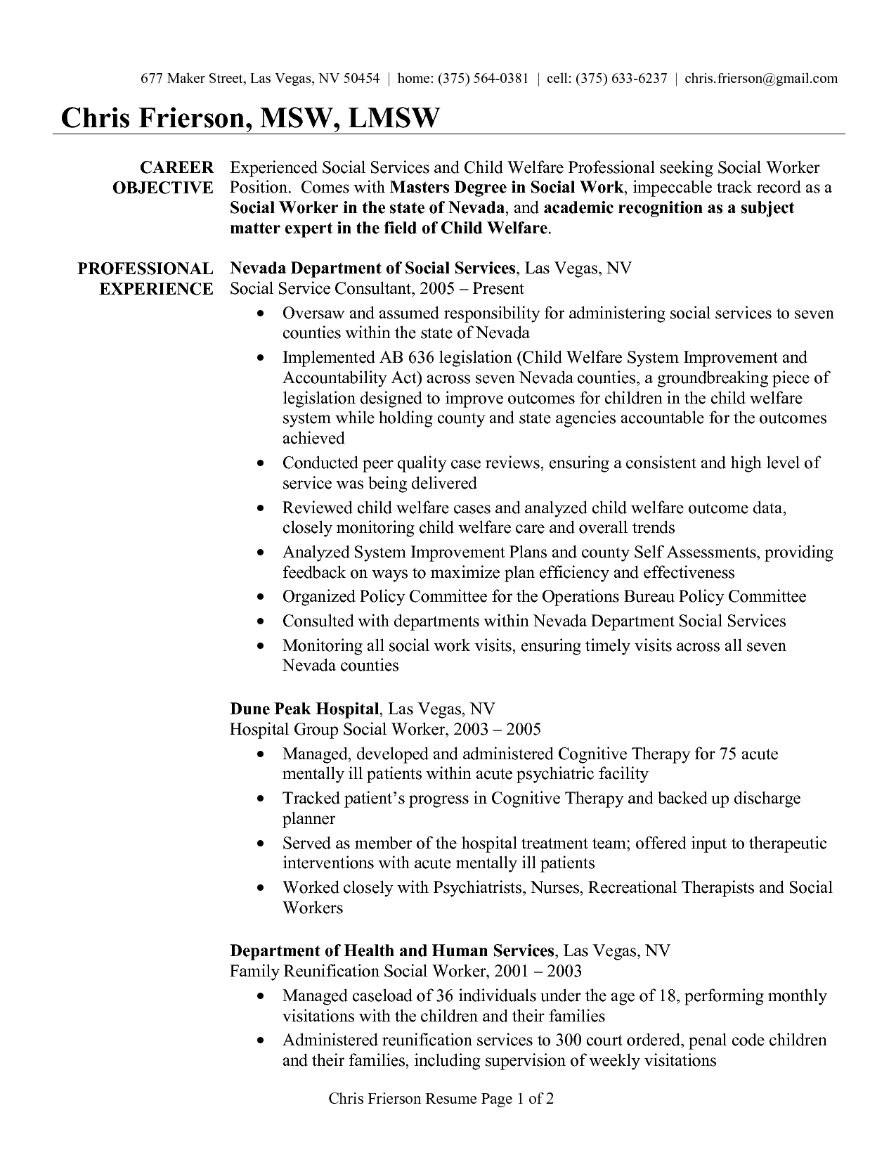 social worker sample resume