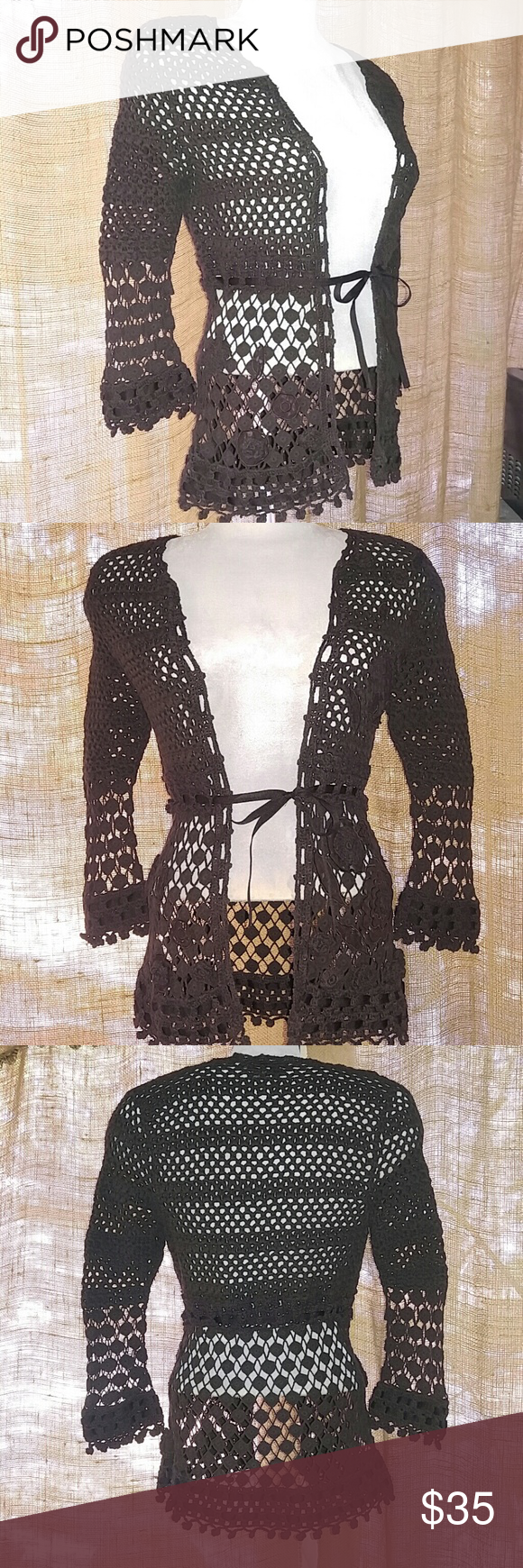 Lady's, Brown, Crocheted, Cardigan | Feminine and Brown