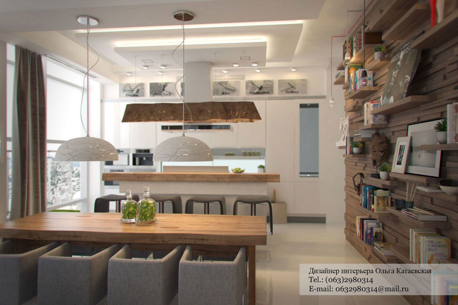 Modern Rustic Studio Apartment Kitchen And Dining Room Combined ...