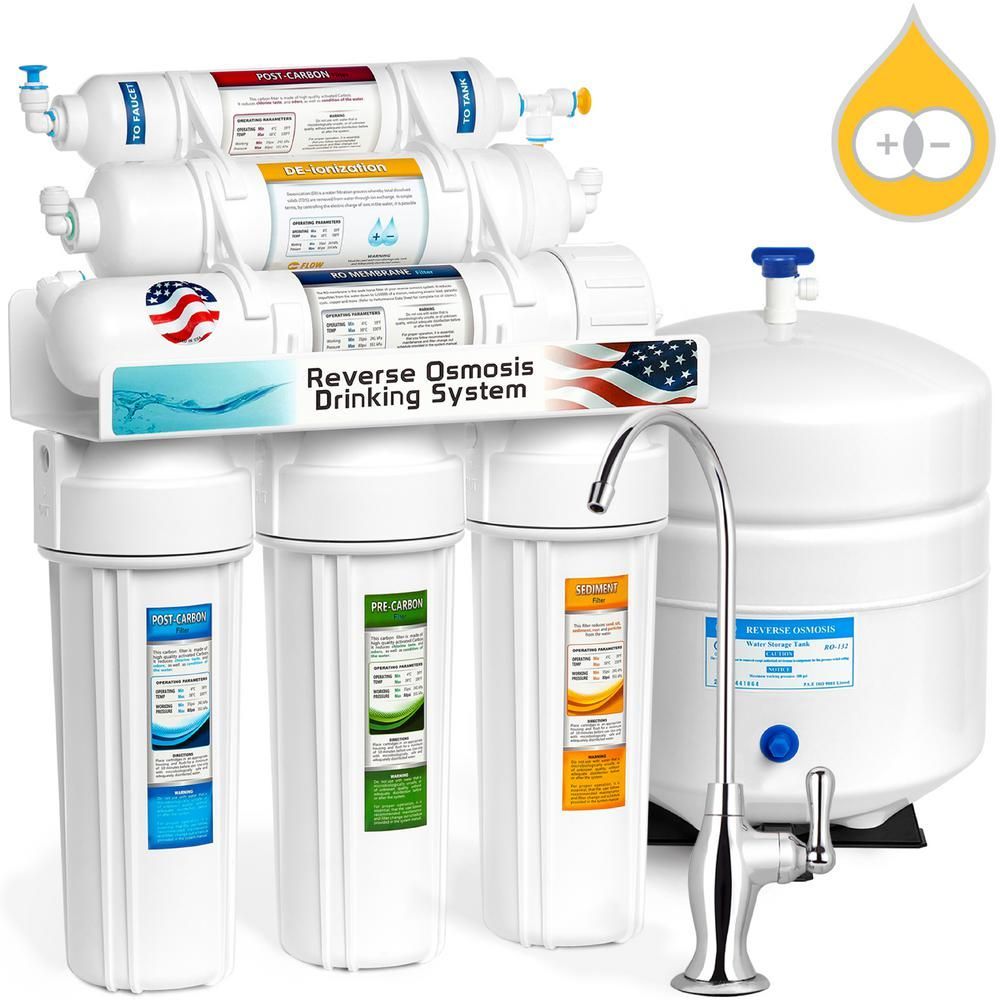 10 Stage White Housing Alkaline RO Water Filter 50 GPD Brushed Nickel Facucet