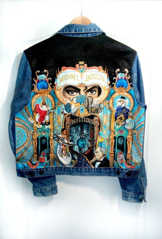 Hand painted denim jacket Michael Jackson tribute