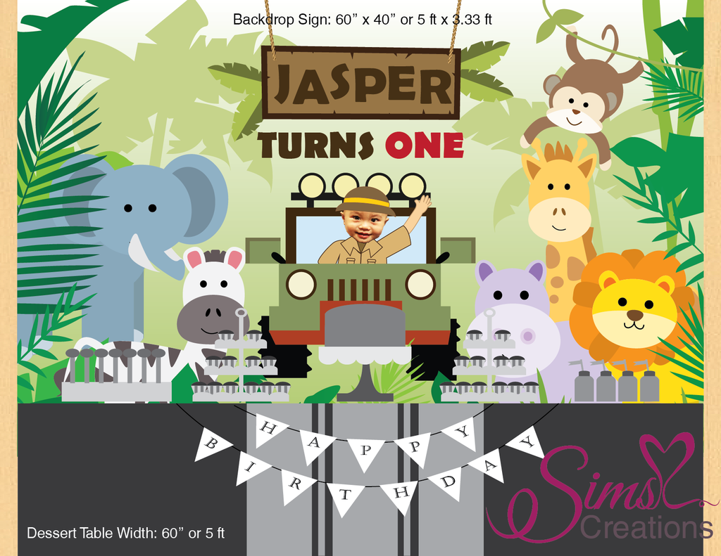 Safari Theme Printable Backdrop Banner Custom Photo In