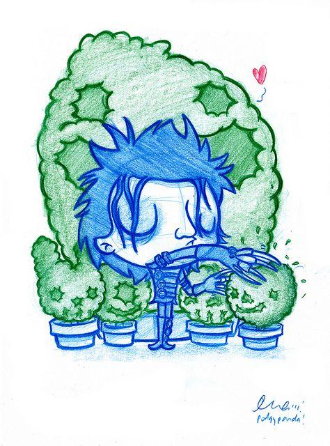 Blue Doodle 26 Edward Scissorhands Cute Drawings Panda Art