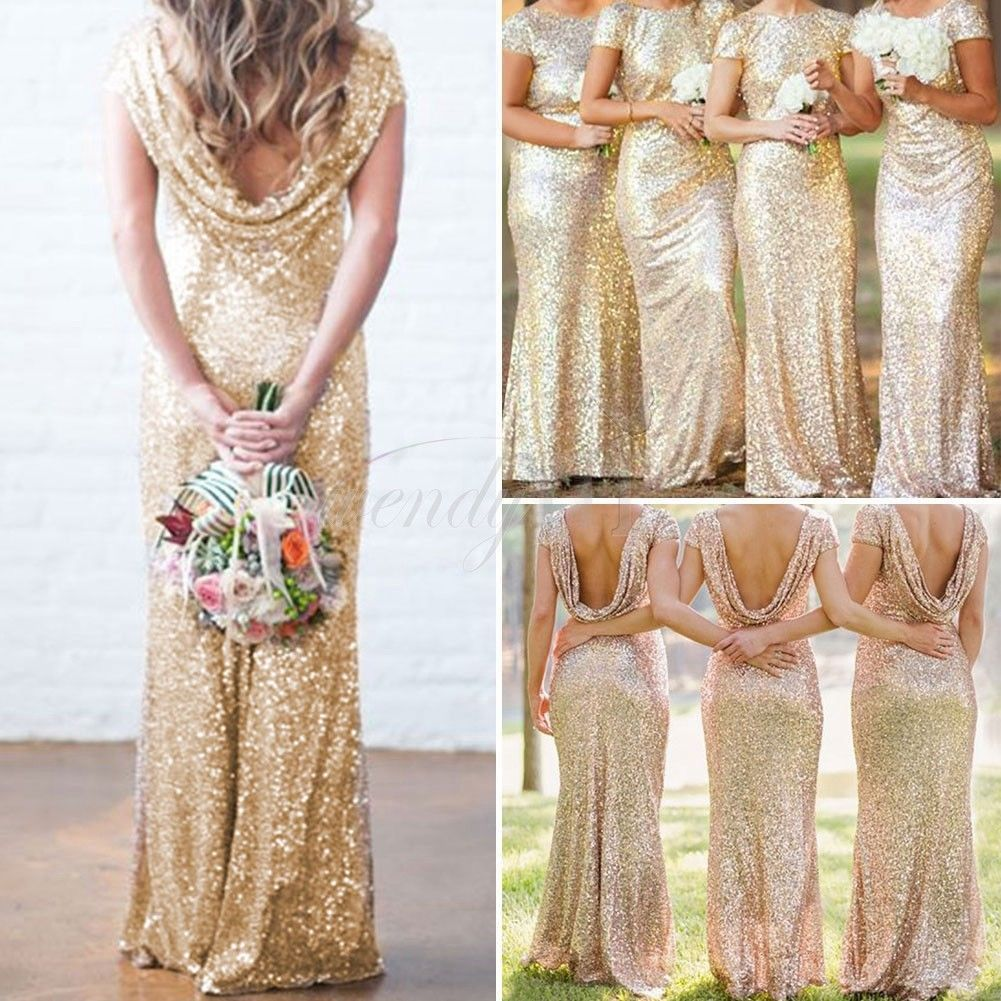 Cool amazing bridal mermaid gold sequin bridesmaid dress stretchy