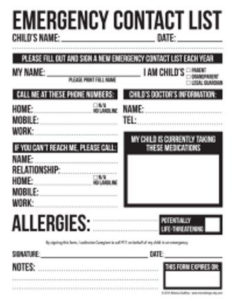 daycare supplies needed form list home preschool documents