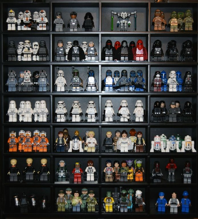 If You Flip The Shot Glass Display Case From Michaels 90 Deg It S A Perfect Minifig Display Some Of My Star Wars F Glass Display Case Display Case Shot Glass