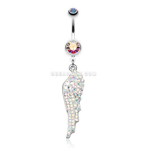 Jeweled Angel Wing Sparkle Belly Ring (Aurora Borealis)