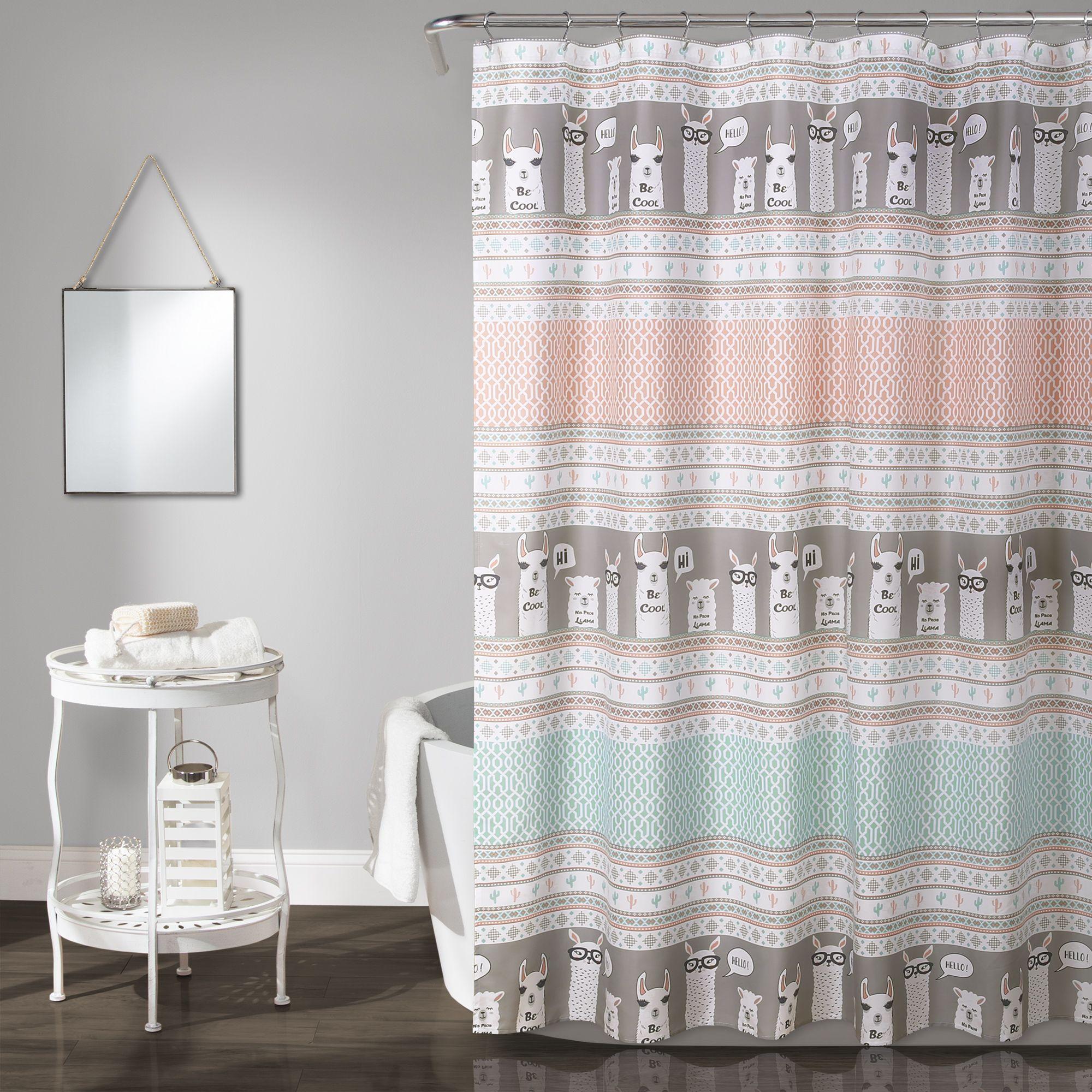 Llama Stripe Shower Curtain Striped Shower Curtains Kids Shower