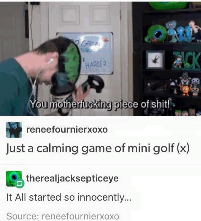 Just calming game of minigolf *** why did Pintrest suggest I put this in my Hunger Games board...?