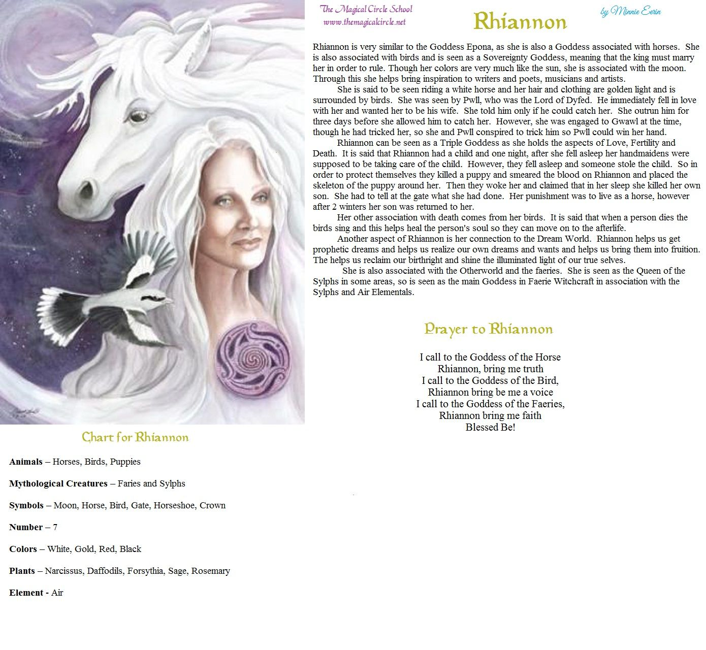 Rhiannon By Minnie Eerin The Magical Circle School