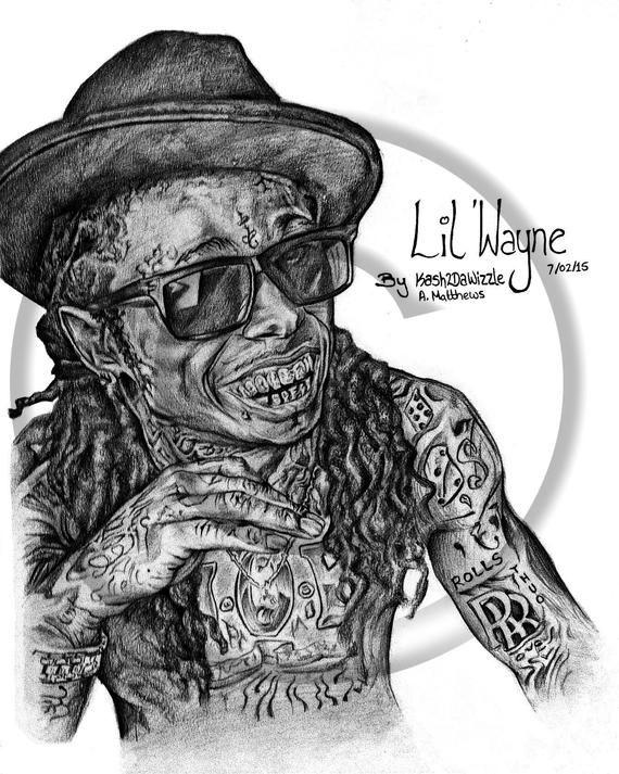 Lil' Wayne #portrait in Black and White #hiphop #art #lilwayne #blackart #music #rapper #lilwayne