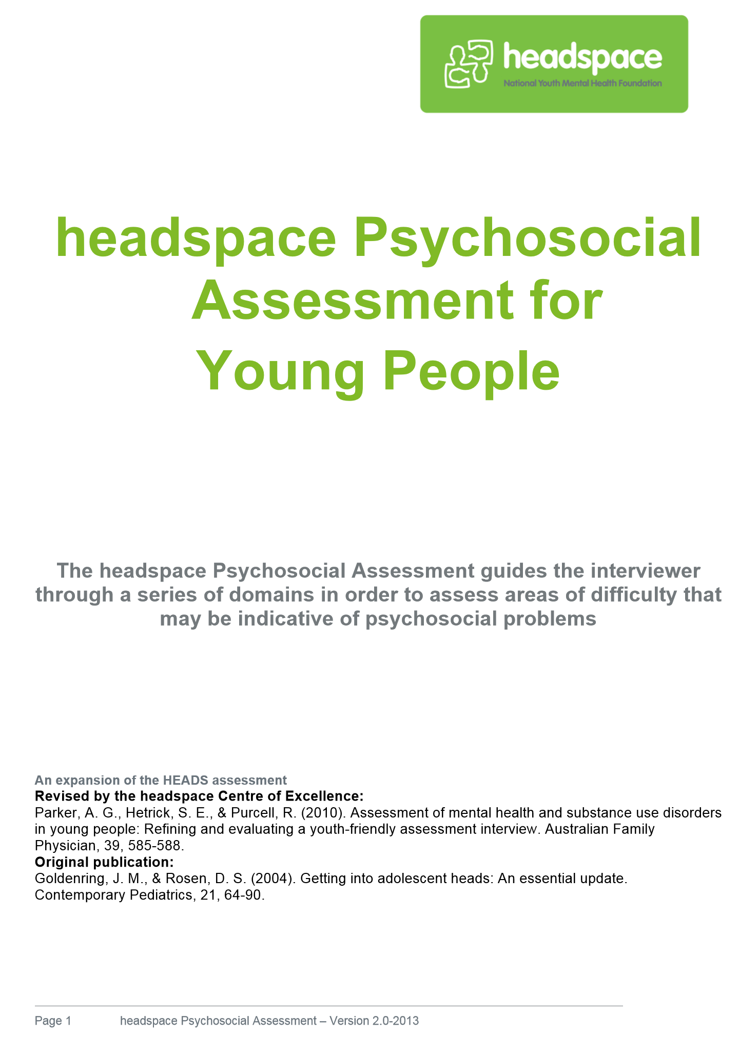 Headspace Headss Assessment Tool For Young People  Various