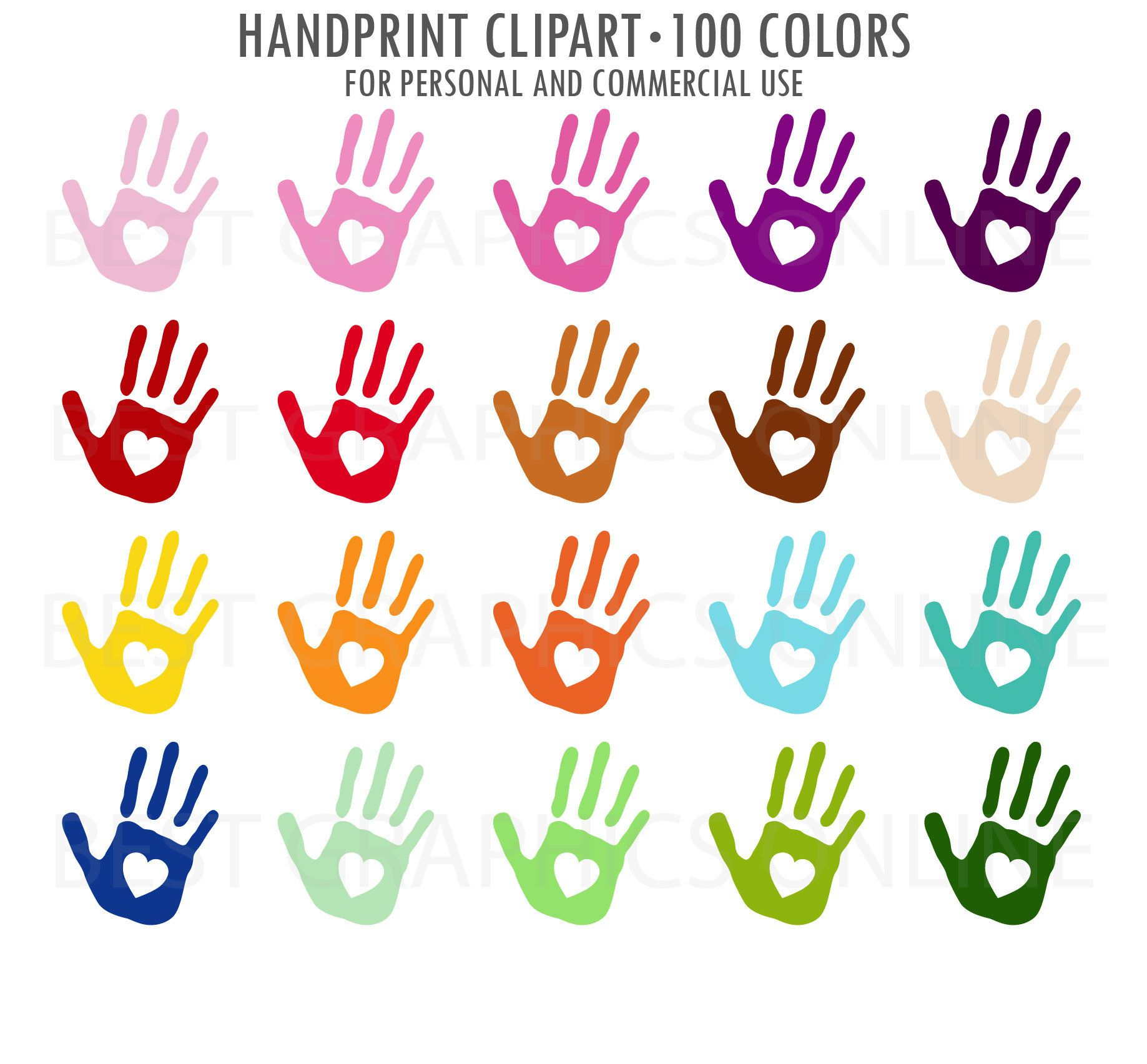 Hand Prints Clipart Painted Hands Clipart Kids Baby Hand Print Colorful Child Rainbow Handprints Children Clip Art Pai Baby Handprint Clip Art Hand Clipart