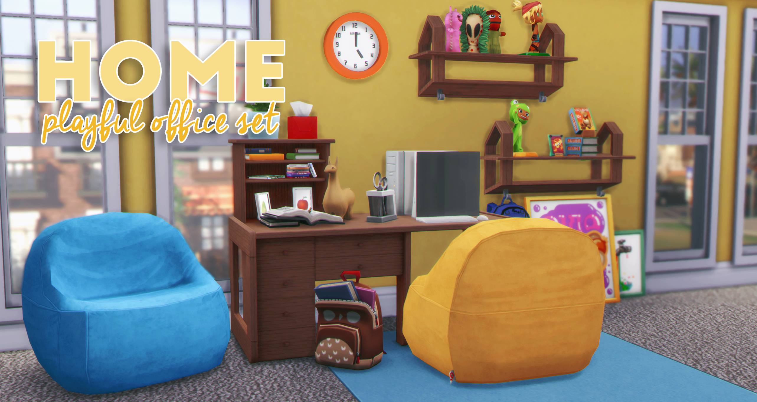 Home Playful Office Set Simgguk On Patreon Sims 4 Cc Furniture Living Rooms Sims 4 Cc Furniture Sims