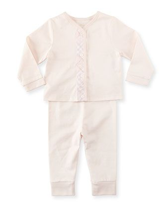 Check-Trim+Knit+Pajamas,+Pink,++3-18+Months+by+Burberry+at+Bergdorf+Goodman.