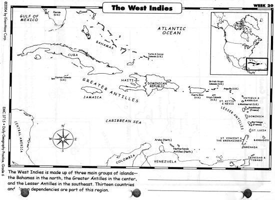 Maps Ch 9 Caribbean Islands Political Blank Map