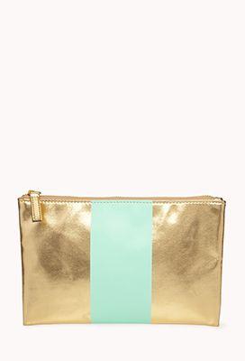 Metallic stripe cosmetic bag - $5.80