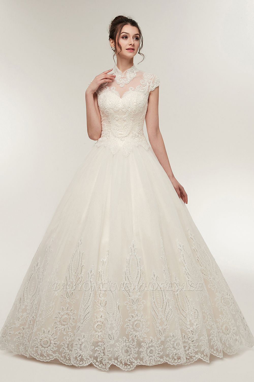 Yolande aline high neck short sleeves long lace appliques wedding
